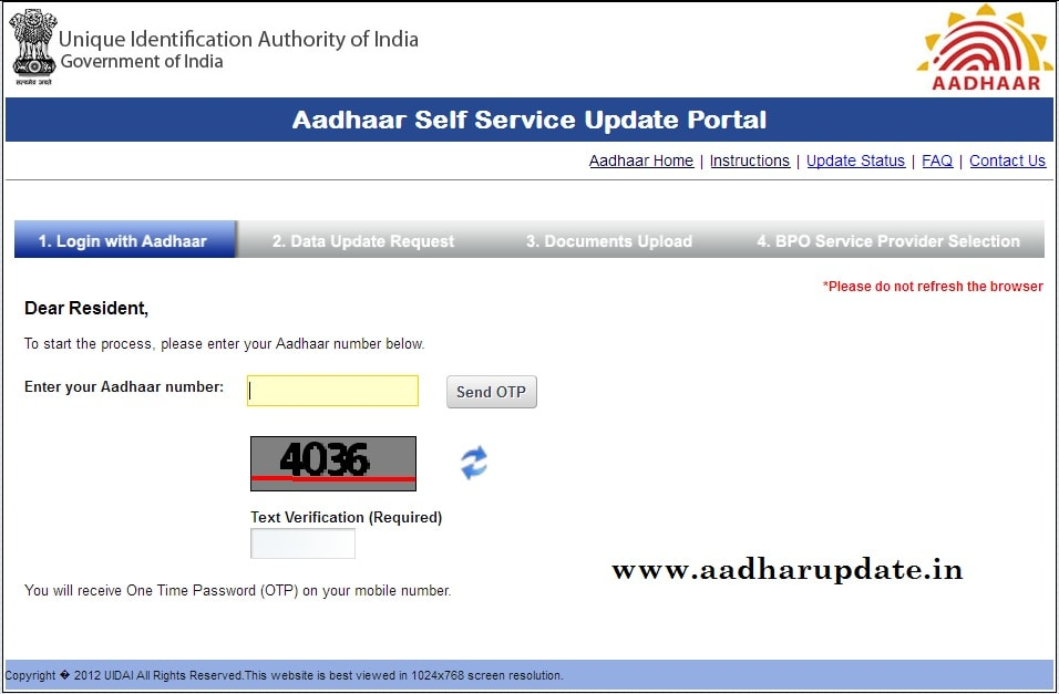 Aaadhaar Address Update