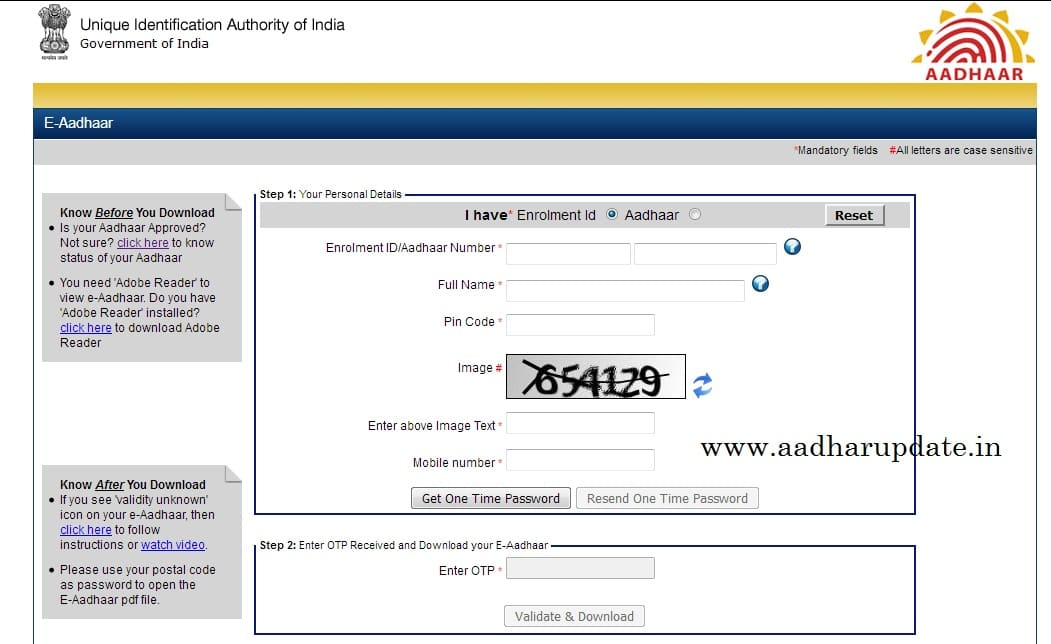 download e aadhaar card online using aadhaar number